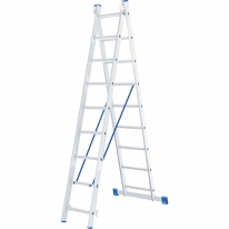 Лестница, 2 х 9 ступеней, алюминиевая, двухсекционная СибрТех