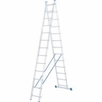 Лестница, 2 х 13 ступеней, алюминиевая, двухсекционная СибрТех