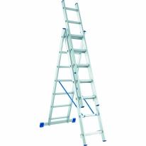 Лестница, 3 х 8 ступеней, алюминиевая, трехсекционная СибрТех