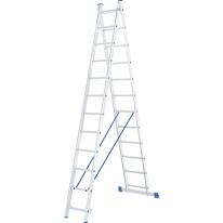 Лестница, 2 х 12 ступеней, алюминиевая, двухсекционная СибрТех