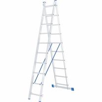 Лестница, 2 х 10 ступеней, алюминиевая, двухсекционная СибрТех
