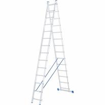 Лестница, 2 х 14 ступеней, алюминиевая, двухсекционная СибрТех