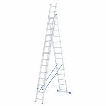Лестница, 3 х 14 ступеней, алюминиевая, трехсекционная СибрТех