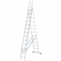 Лестница, 3 х 13 ступеней, алюминиевая, трехсекционная СибрТех