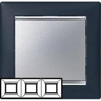 Рамка 3 поста вертикальная ноктюрн/серебряный штрих Legrand Valena
