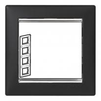 Рамка 4 поста вертикальная ноктюрн/серебряный штрих Legrand Valena