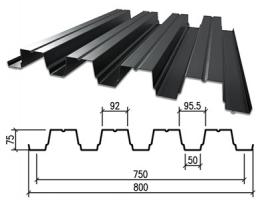 Профнастил оцинкованный НС-75 0,6x750x6000