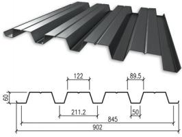 Профнастил оцинкованный НC-60 0,55x845x6000