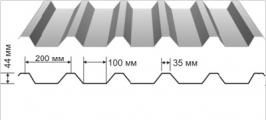 Профнастил оцинкованный НС-44 0,5x1000x6000