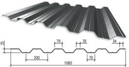 Профнастил оцинкованный НС-35 0,5x1000x6000