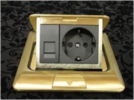 Люк встраиваемый на 1,5 модуля с коробкой латунь IP44 (45х45 мм)