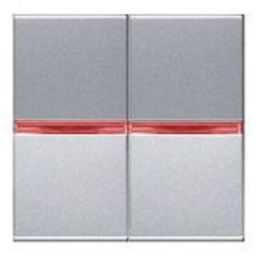 Переключатель 2кл промежуточный с красной подсветкой ABB Niessen Zenit Серебро