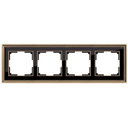 Рамка на 4 поста Werkel Palacio золото/черный