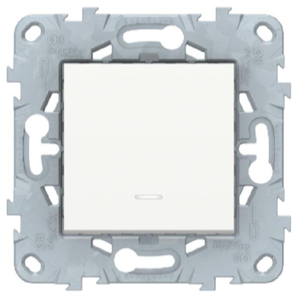Выключатель перекрестный 1-клавишный с подсветкой, Белый, Schneider Electric Unica Studio New