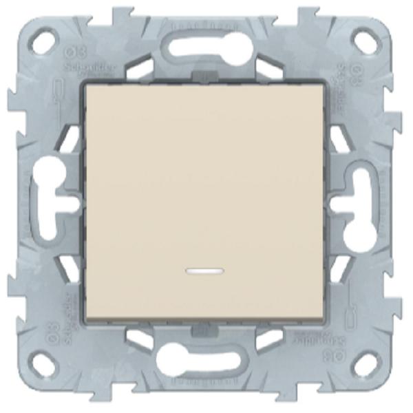 Выключатель перекрестный 1-клавишный с подсветкой, Беж, Schneider Electric Unica Studio New