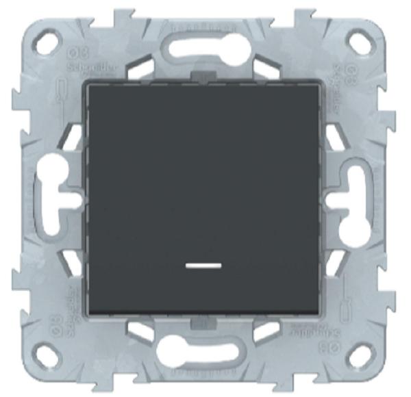 Переключатель 1-клавишный с подсветкой, Антрацит, Schneider Electric Unica Studio New