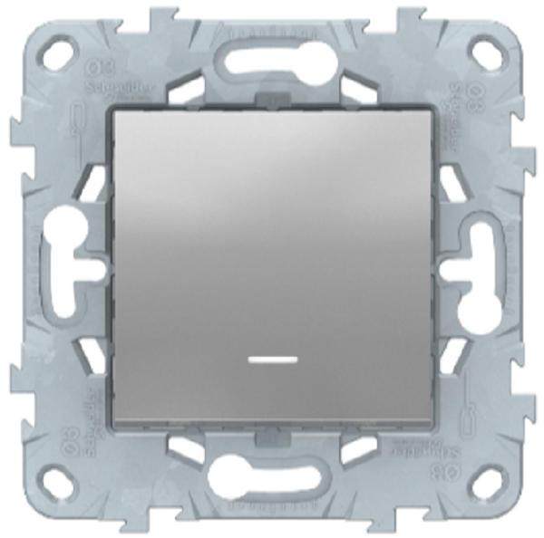 Выключатель перекрестный 1-клавишный с подсветкой, Алюминий, Schneider Electric Unica Studio New
