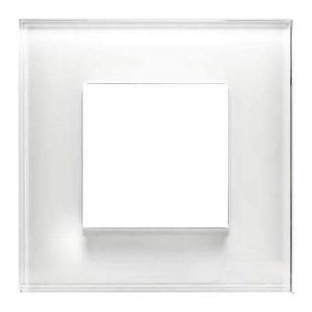 Рамка 1 пост (2 модуля) ABB Zenit Белое стекло