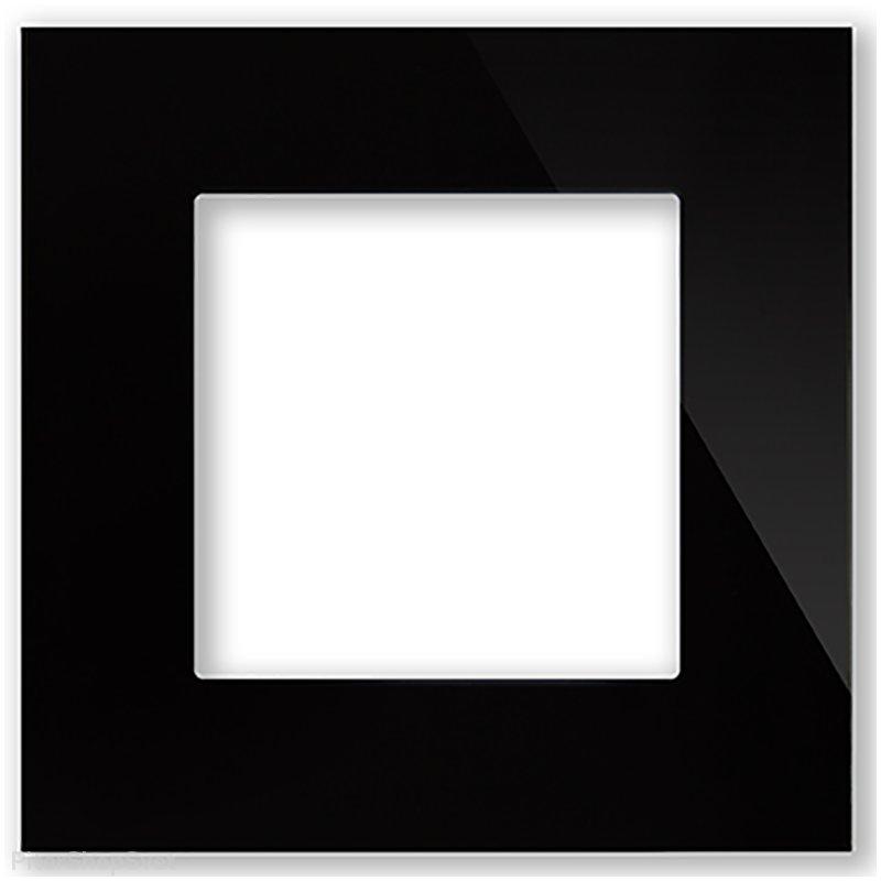 Рамка 1 пост (2 модуля) ABB Zenit Черное стекло
