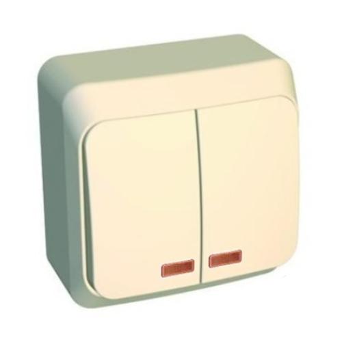 Выключатель Этюд 2-клавишный с подсветкой кремовый