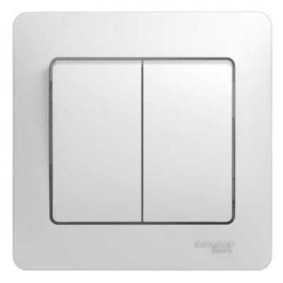 Выключатель 2-клавишный, (в сборе с рамкой), Белый, Schneider Glossa