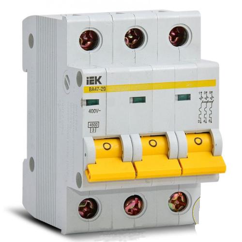 Автоматический выключатель IEK ВА47-29 3P 63А Арт. P1270