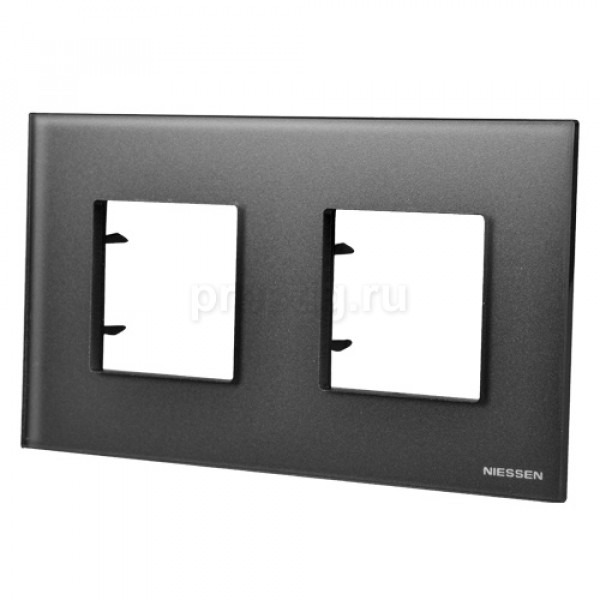 Рамка 2 поста (4 модуля) ABB Zenit Черное стекло