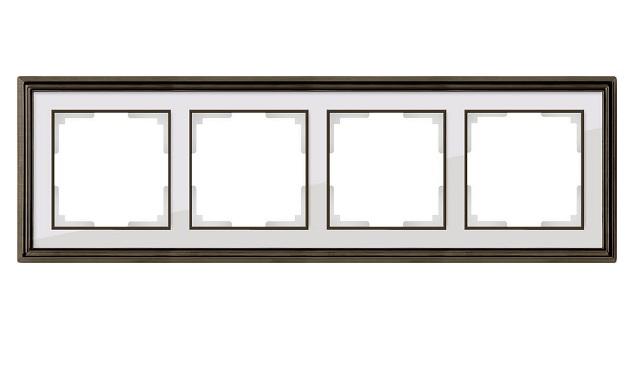 WL17-Frame-04/ Рамка на 4 поста (бронза/белый)
