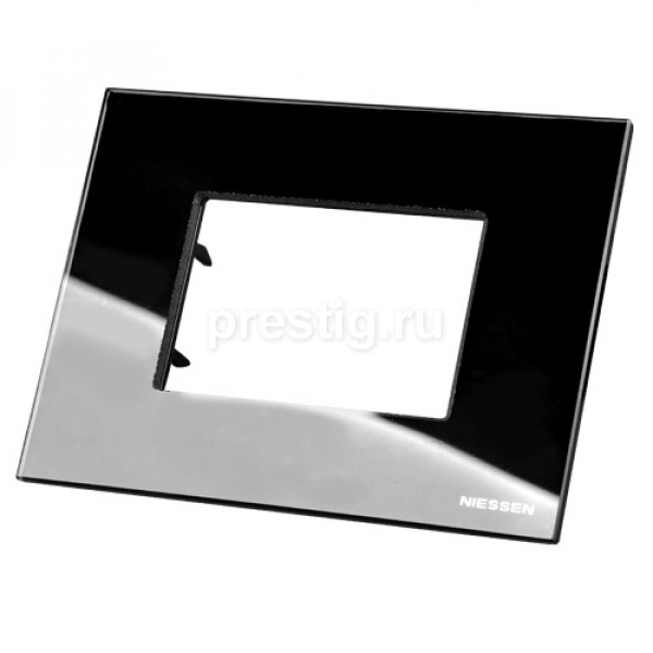 Рамка итальянский стандарт 3 модуля ABB Zenit Черное стекло