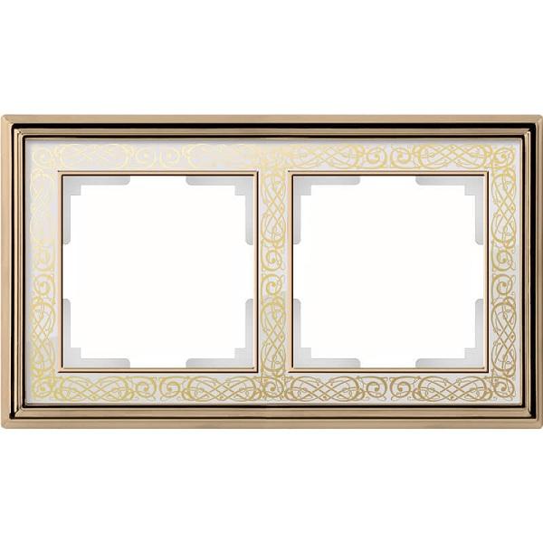 WL77-Frame-02/ Рамка на 2 поста (золото/белый)