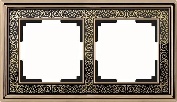 WL77-Frame-02/ Рамка на 2 поста (золото/черный)