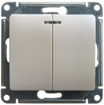 Выключатель 2-клавишный с подсветкой, Перламутр, Schneider Glossa
