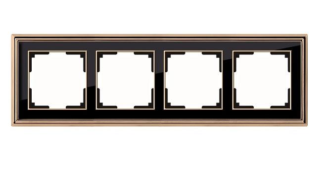 WL17-Frame-04/ Рамка на 4 поста (золото/черный)