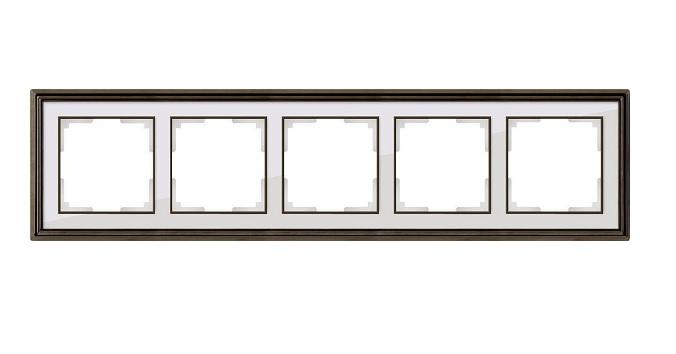 WL17-Frame-05/ Рамка на 5 постов (бронза/белый)
