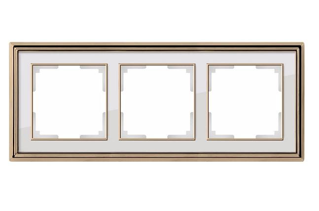 WL17-Frame-03/ Рамка на 3 поста (золото/белый)