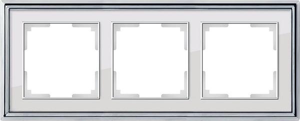 WL17-Frame-03/ Рамка на 3 поста (хром/белый)