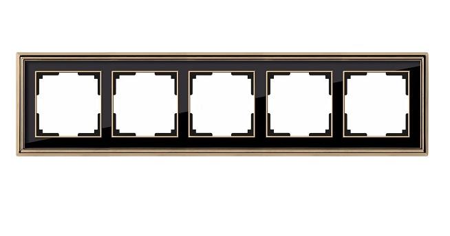 WL17-Frame-05/ Рамка на 5 постов (золото/черный)