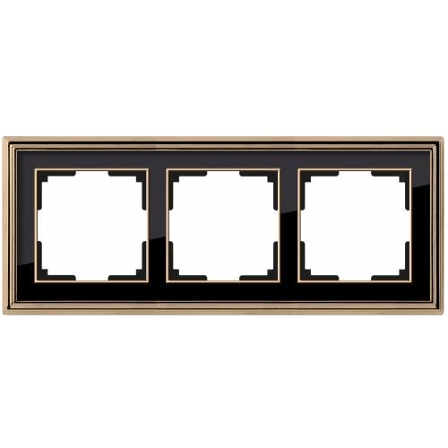 Рамка на 3 поста Werkel Palacio золото/черный