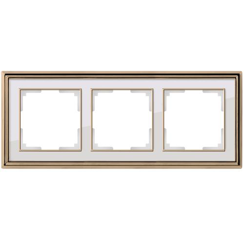Рамка на 3 поста Werkel Palacio золото/белый