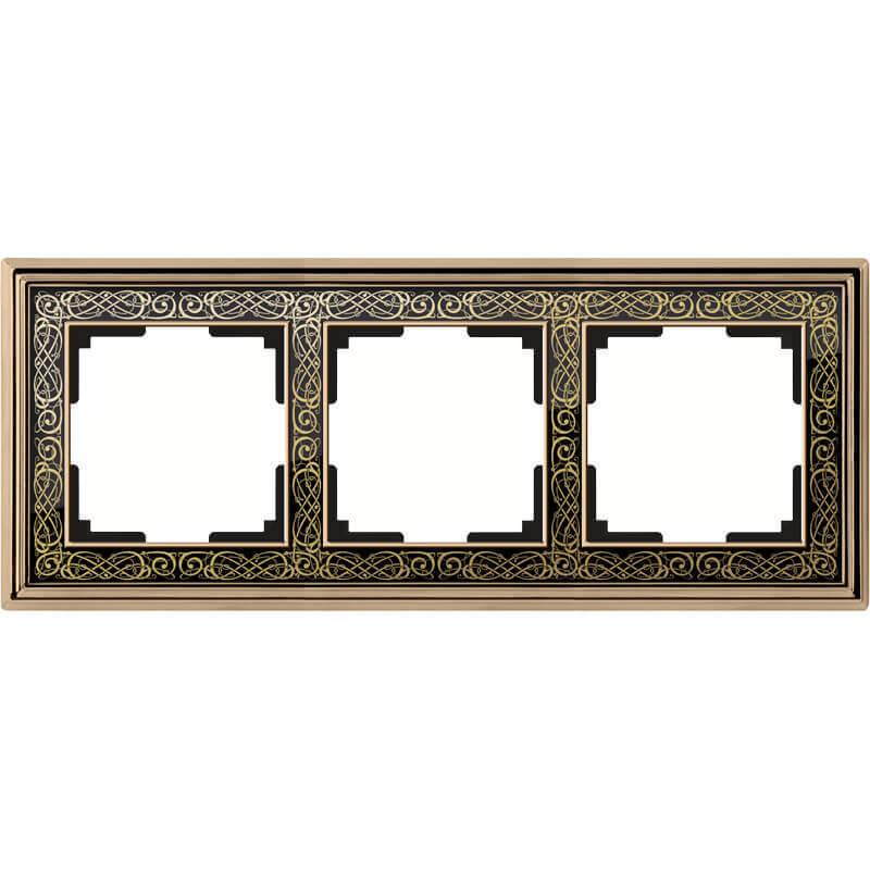 WL77-Frame-03/ Рамка на 3 поста (золото/черный)