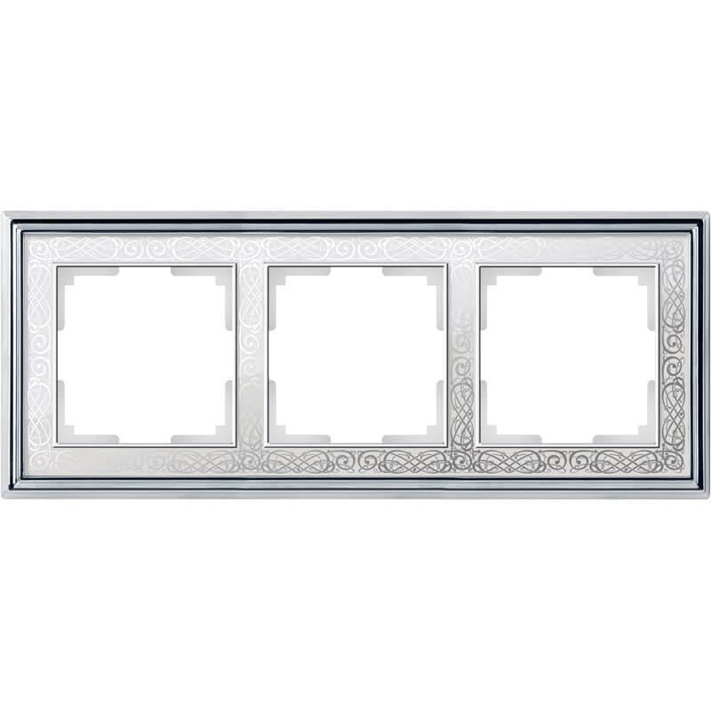 WL77-Frame-03/ Рамка на 3 поста (хром/белый)