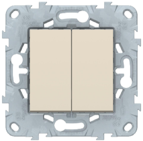 Выключатель перекрестный 2-клавишный, Беж, Schneider Electric Unica Studio New