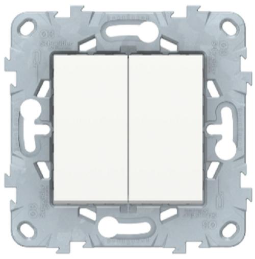 Выключатель 2-клавишный перекрестный, Белый, Schneider Electric Unica Studio New