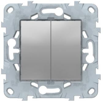 Выключатель перекрестный 2-клавишный, Алюминий, Schneider Electric Unica Studio New