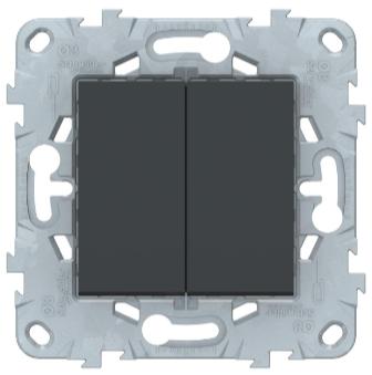 Выключатель перекрестный 2-клавишный, Антрацит, Schneider Electric Unica Studio New