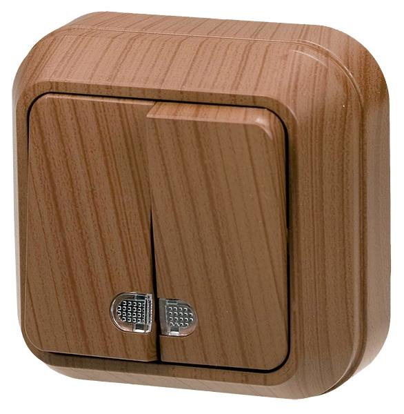 Выключатель Makel Siva Ustu 2-клавишный с подсветкой (орех)