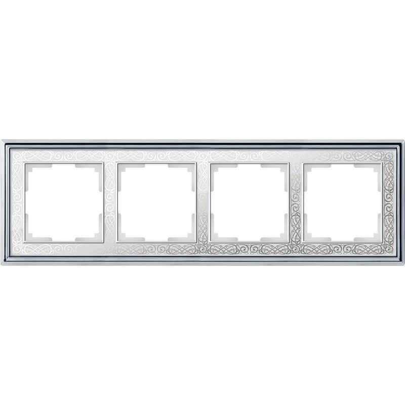 WL77-Frame-04/ Рамка на 4 поста (хром/белый)