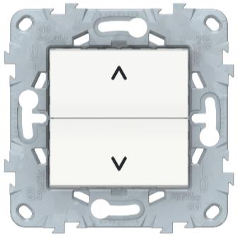 Выключатель для жалюзи, 2-клавишный кнопочный, Белый, Schneider Electric Unica Studio New