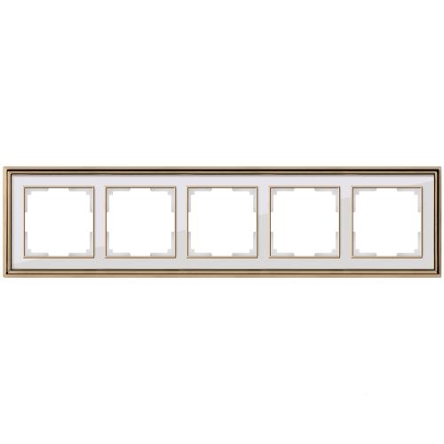 Рамка на 5 постов Werkel Palacio золото/белый