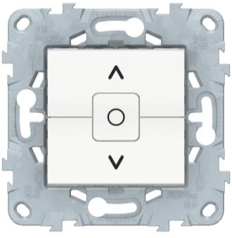 Выключатель для жалюзи, 2-клавишный с фиксацией, Белый, Schneider Electric Unica Studio New